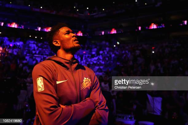 Deandre Ayton of the Phoenix Suns stands on the court for introductions to the NBA game against the Dallas Mavericks at Talking Stick Resort Arena on...
