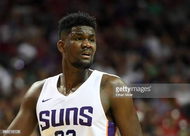 Deandre Ayton of the Phoenix Suns walks on the court during a 2018 NBA Summer League game against the Dallas Mavericks at the Thomas Mack Center on...