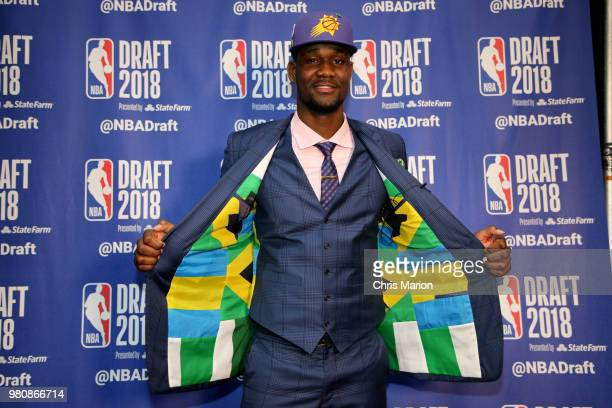 DeAndre Ayton poses for a photo after being selected number one overall by the Phoenix Suns on June 21 2018 at Barclays Center during the 2018 NBA...