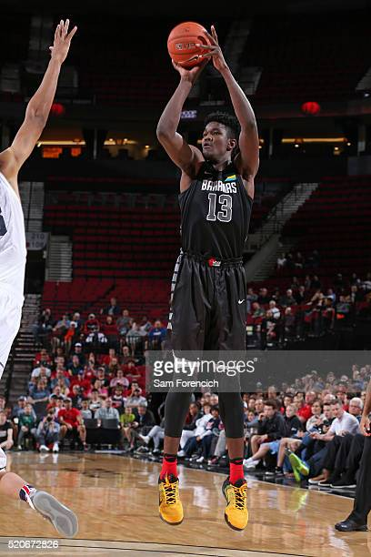 DeAndre Ayton the World Select Team shoots the ball against the USA Junior Select Team during the game on April 9 2016 at the MODA Center Arena in...