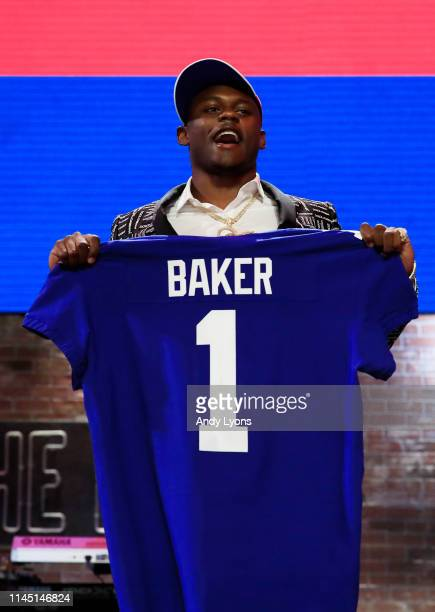 Deandre Baker of Georgia reacts after being chosen overall by the New York Giants during the first round of the 2019 NFL Draft on April 25 2019 in...