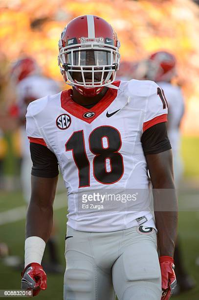 Deandre Baker of the Georgia Bulldogs warms up against the Missouri Tigers at Memorial Stadium on September 17 2016 in Columbia Missouri