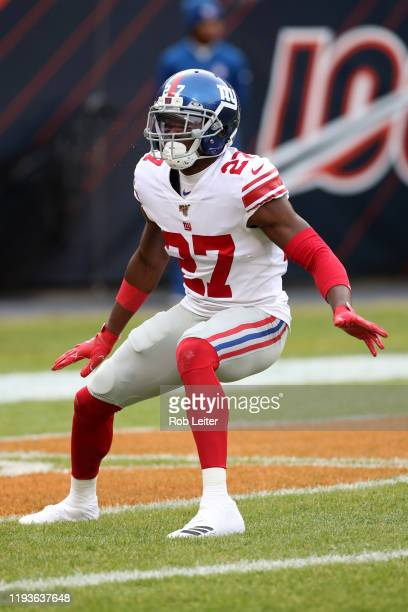 DeAndre Baker of the New York Giants in action during the game against the Chicago Bears at Soldier Field on November 24 2019 in Chicago Illinois The...