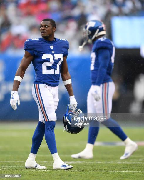 Deandre Baker of the New York Giants looks on during the first quarter of the game against the Arizona Cardinals at MetLife Stadium on October 20...