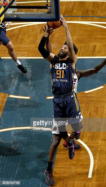 DeAndre Bembry from the Salt Lake City Stars lays the ball up against the Sioux Falls Skyforce during their game at the Sanford Pentagon December 11...