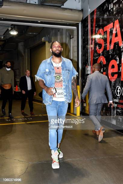 DeAndre' Bembry of the Atlanta Hawks arrives to the game against the Los Angeles Lakers on November 11 2018 at Staples Center in Los Angeles...