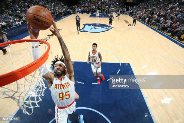 DeAndre' Bembry of the Atlanta Hawks drives to the basket against the Memphis Grizzlies on December 15 2017 at FedExForum in Memphis Tennessee NOTE...
