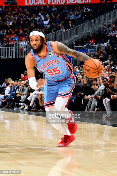 DeAndre' Bembry of the Atlanta Hawks drives to the basket during the game against the Oklahoma City Thunder on January 15 2019 at State Farm Arena in...