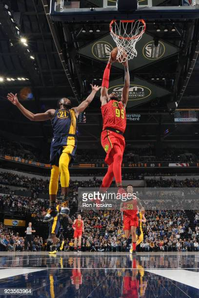DeAndre' Bembry of the Atlanta Hawks drives to the basket during the game against the Indiana Pacers on February 23 2018 at Bankers Life Fieldhouse...