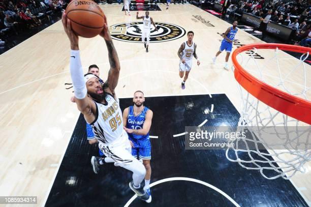 DeAndre' Bembry of the Atlanta Hawks dunks the ball against the Orlando Magic on January 21 2019 at State Farm Arena in Atlanta Georgia NOTE TO USER...