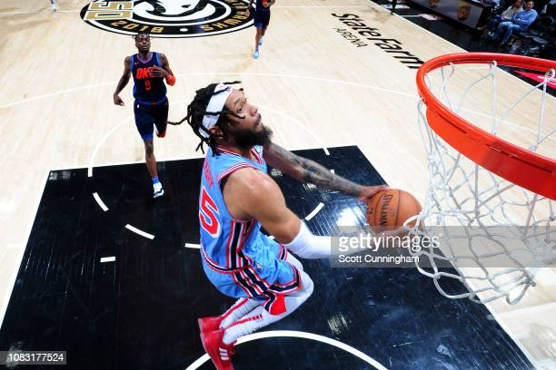 DeAndre' Bembry of the Atlanta Hawks dunks the ball during the game against the Oklahoma City Thunder on January 15 2019 at State Farm Arena in...