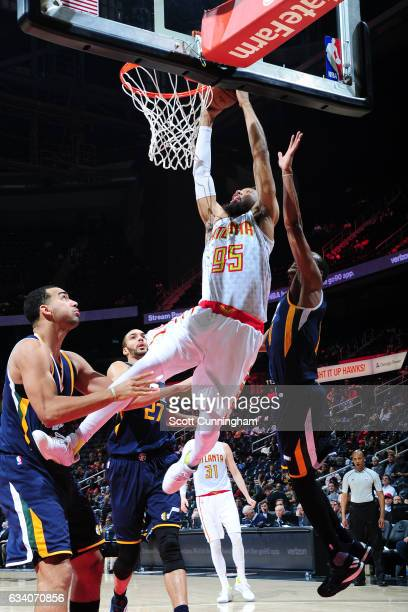 DeAndre Bembry of the Atlanta Hawks goes up for a dunk against the Utah Jazz on February 6 2017 at Philips Arena in Atlanta Georgia NOTE TO USER User...