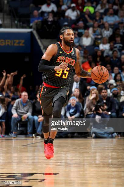 DeAndre' Bembry of the Atlanta Hawks handles the ball against the Memphis Grizzlies during a game on October 19 2018 at FedExForum in Memphis...