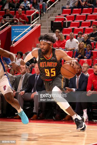 DeAndre' Bembry of the Atlanta Hawks handles the ball against the Detroit Pistons on October 6 2017 at Little Caesars Arena in Detroit Michigan NOTE...