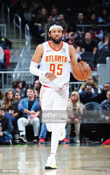 DeAndre' Bembry of the Atlanta Hawks handles the ball against the Detroit Pistons on December 14 2017 at Philips Arena in Atlanta Georgia NOTE TO...