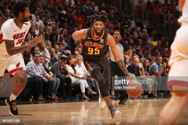 DeAndre' Bembry of the Atlanta Hawks handles the ball against the Miami Heat on April 3 2018 at American Airlines Arena in Miami Florida NOTE TO USER...