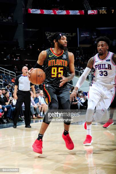 DeAndre' Bembry of the Atlanta Hawks handles the ball against the Philadelphia 76ers on April 10 2018 at Philips Arena in Atlanta Georgia NOTE TO...