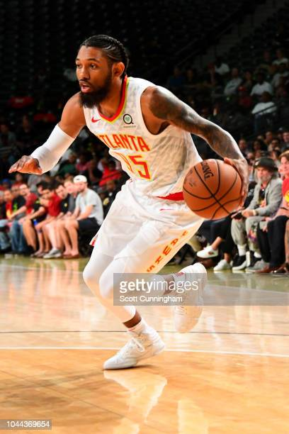 DeAndre' Bembry of the Atlanta Hawks handles the ball against the the New Orleans Pelicans during a preseason game on October 1 2018 at McCamish...