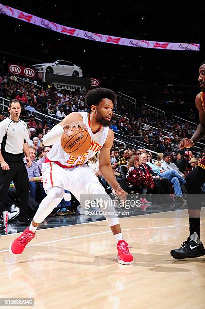 DeAndre Bembry of the Atlanta Hawks handles the ball during a preseason game against the Cleveland Cavaliers on October 10 2016 at Philips Arena in...