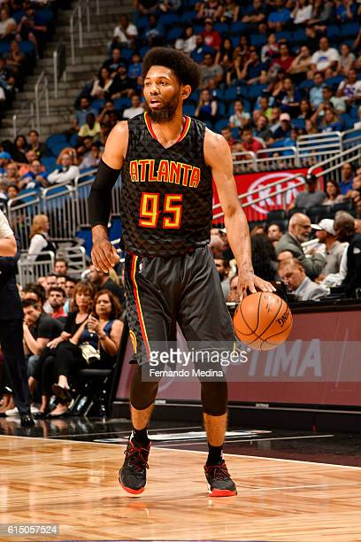 DeAndre Bembry of the Atlanta Hawks handles the ball during a preseason game against the Orlando Magic on October 16 2016 at Amway Center in Orlando...