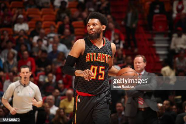 DeAndre Bembry of the Atlanta Hawks handles the ball during a game against the Miami Heat on February 1 2017 at American Airlines Arena in Miami...