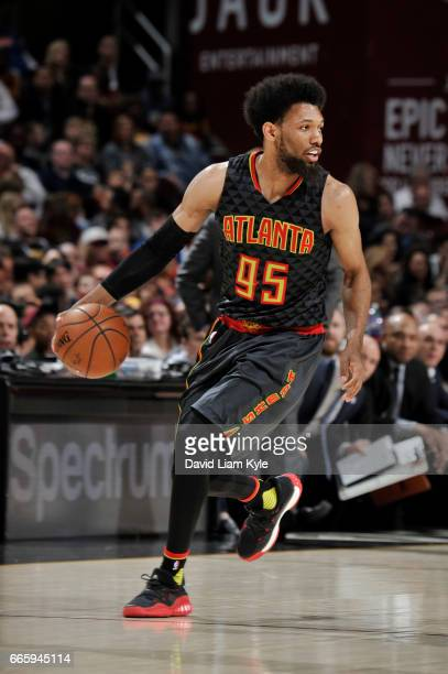 DeAndre Bembry of the Atlanta Hawks handles the ball during a game against the Cleveland Cavaliers on April 7 2017 at Quicken Loans Arena in...