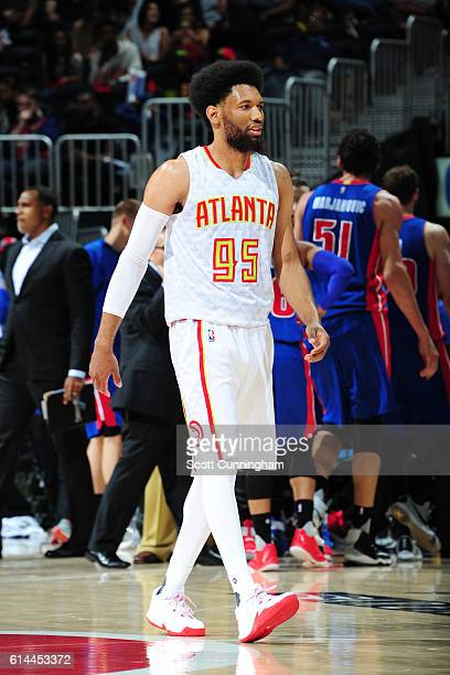 DeAndre Bembry of the Atlanta Hawks is seen during the game against the Detroit Pistons on October 13 2016 at Philips Arena in Atlanta Georgia NOTE...