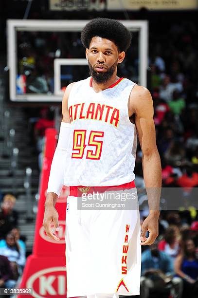 DeAndre Bembry of the Atlanta Hawks looks on during a preseason game against the Cleveland Cavaliers on October 10 2016 at Philips Arena in Atlanta...