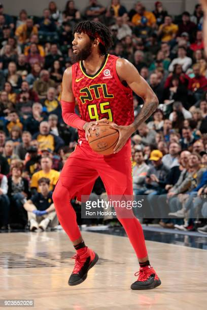 DeAndre' Bembry of the Atlanta Hawks passes the ball during the game against the Indiana Pacers on February 23 2018 at Bankers Life Fieldhouse in...