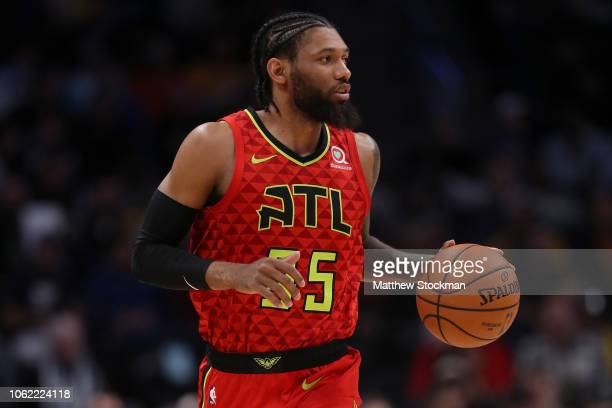 Deandre' Bembry of the Atlanta Hawks plays the Denver Nuggets at the Pepsi Center on November 15 2018 in Denver Colorado NOTE TO USER User expressly...