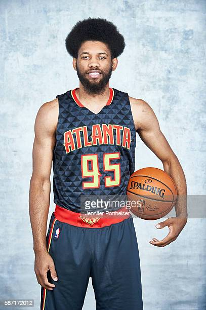 Deandre Bembry of the Atlanta Hawks poses for a portrait during the 2016 NBA rookie photo shoot on August 7 2016 at the Madison Square Garden...