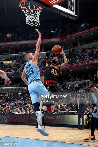 DeAndre' Bembry of the Atlanta Hawks shoots the ball against the Memphis Grizzlies during a game on October 19 2018 at FedExForum in Memphis...