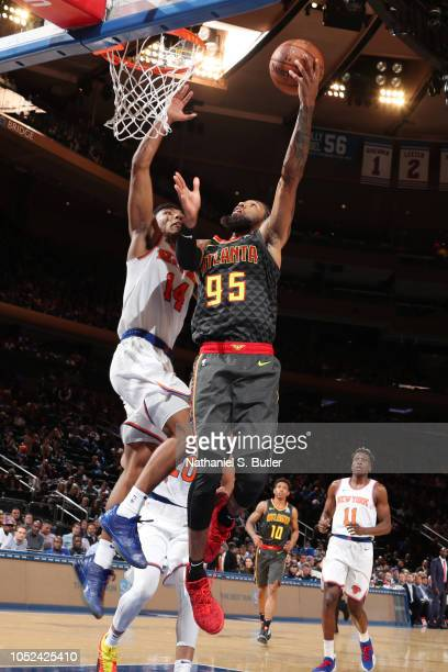 DeAndre' Bembry of the Atlanta Hawks shoots the ball against the New York Knicks during the game on October 17 2018 at Madison Square Garden in New...