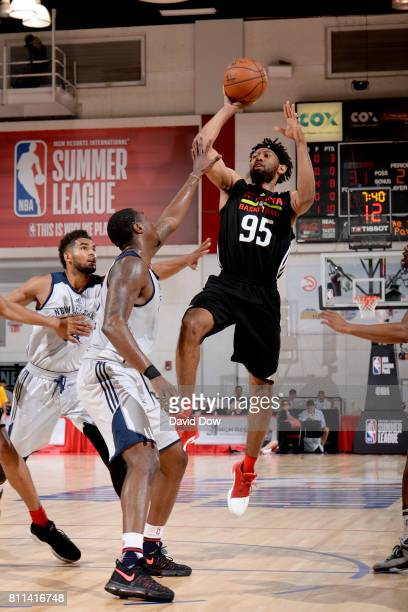 DeAndre' Bembry of the Atlanta Hawks shoots the ball against the New Orleans Pelicans on July 9 2017 at the Cox Pavilion in Las Vegas Nevada NOTE TO...