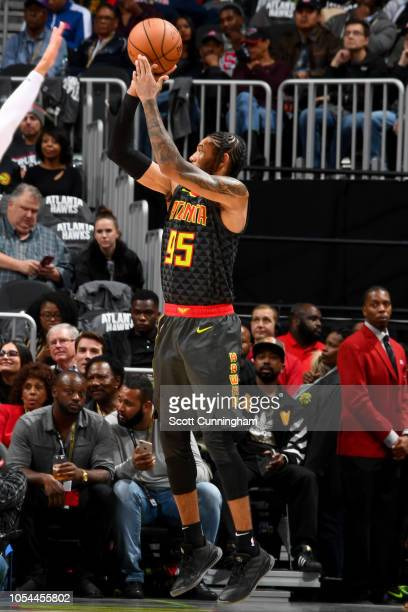 DeAndre' Bembry of the Atlanta Hawks shoots the ball against the Chicago Bulls on October 27 2018 at State Farm Arena in Atlanta Georgia NOTE TO USER...