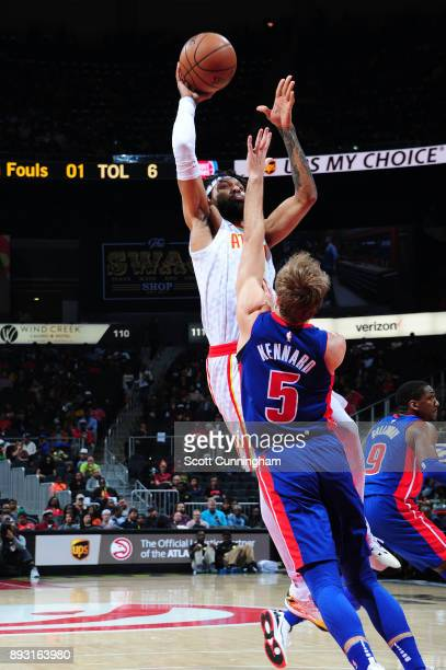 DeAndre' Bembry of the Atlanta Hawks shoots the ball against the Detroit Pistons on December 14 2017 at Philips Arena in Atlanta Georgia NOTE TO USER...