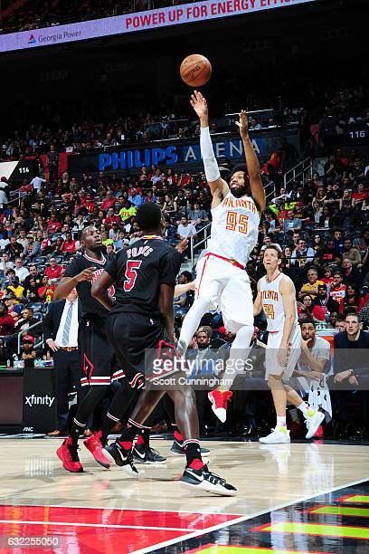 DeAndre Bembry of the Atlanta Hawks shoots the ball against the Chicago Bulls during the game on January 20 2017 at Philips Arena in Atlanta Georgia...