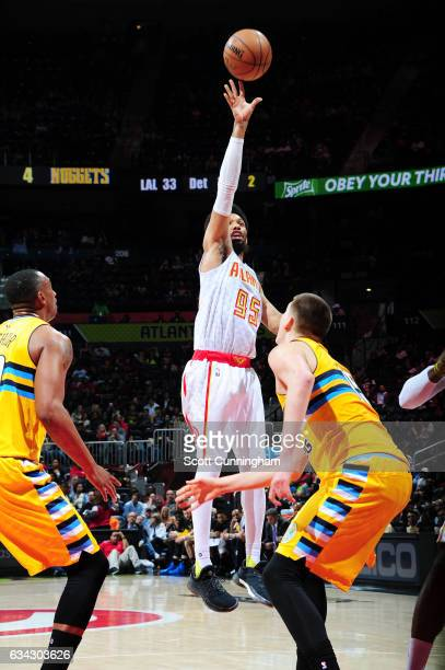 DeAndre Bembry of the Atlanta Hawks shoots the ball against the Denver Nuggets during the game on February 8 2017 at Philips Arena in Atlanta Georgia...