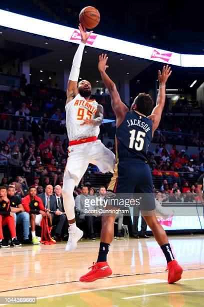 DeAndre' Bembry of the Atlanta Hawks shoots the ball against the the New Orleans Pelicans during a preseason game on October 1 2018 at McCamish...