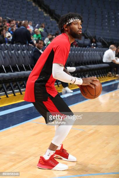 DeAndre' Bembry of the Atlanta Hawks warms up before the game against the Memphis Grizzlies on December 15 2017 at FedExForum in Memphis Tennessee...