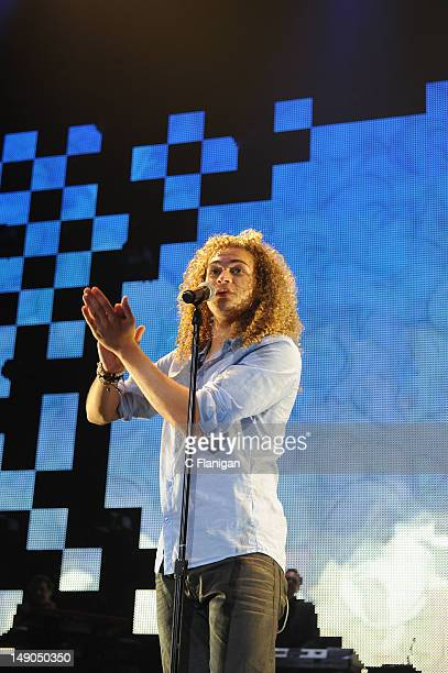 DeAndre Brackensick performs during the American Idol Live Summer Tour presented by Chips Ahoy and Ritz at Power Balance Pavilion on July 21 2012 in...