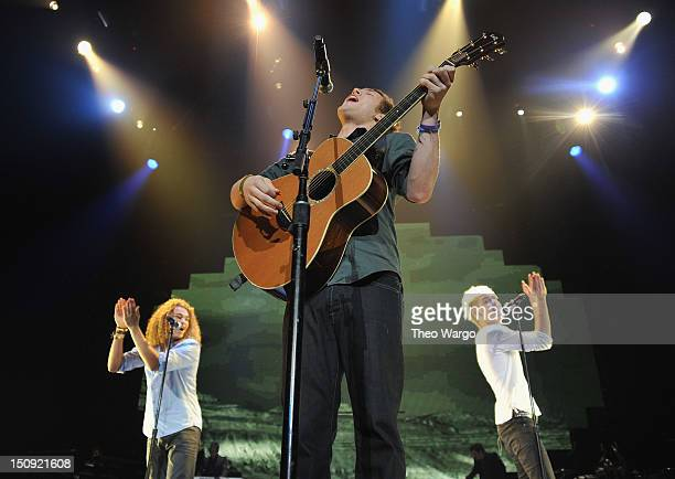 DeAndre Brackensick Phillip Phillips and Colton Dixon during the American Idol Live tour at the Prudential Center on August 28 2012 in Newark New...