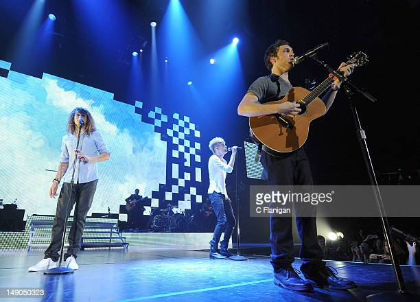 DeAndre BrackensickPhillip Phillips and Colton Dixon perform during the American Idol Live Summer Tour presented by Chips Ahoy and Ritz at Power...