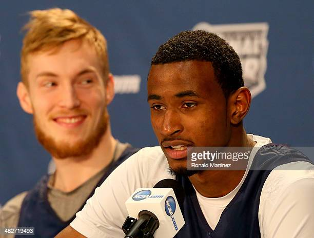 DeAndre Daniels and Niels Giffey of the Connecticut Huskies answer questions from the media before practice ahead of the 2014 NCAA Men's Final Four...
