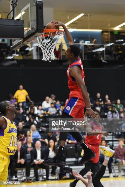 DeAndre Daniels of the Agua Caliente Clippers dunks the ball against South Bay Lakers during an NBA GLeague game on March 15 2018 at UCLA Heath...