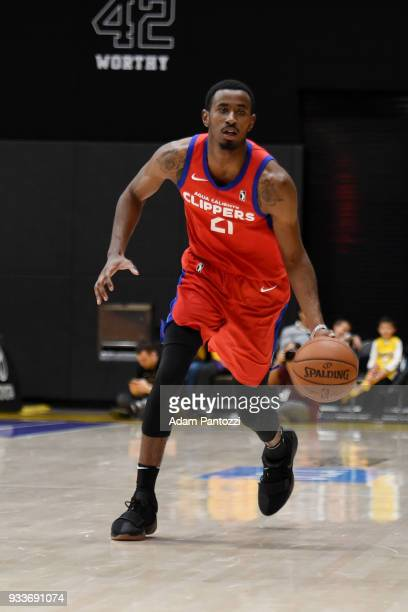 DeAndre Daniels of the Agua Caliente Clippers handles the ball against South Bay Lakers during an NBA GLeague game on March 15 2018 at UCLA Heath...