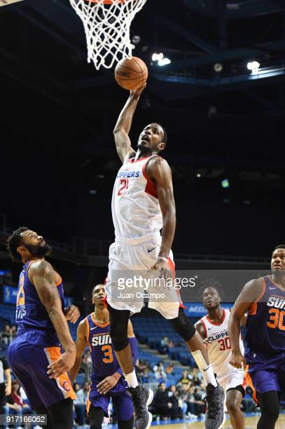 Deandre Daniels of the Agua Caliente Clippers shoots the ball against the Northern Arizona Suns on February 11 2018 at Citizens Business Bank Arena...