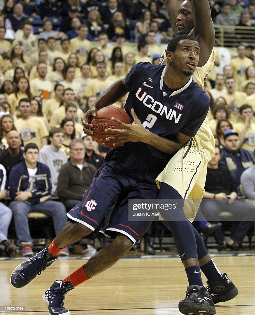 DeAndre Daniels #2 of the Connecticut Huskies drives to the basket against the Pittsburgh Panthers at Petersen Events Center on January 19, 2013 in Pittsburgh, Pennsylvania. PITT defeated UCONN