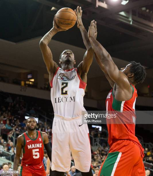 DeAndre Daniels of the Erie Bayhawks shoots the ball against Devin Williams of the Maine Red Claws during an NBA GLeague game on November 10 2017 at...