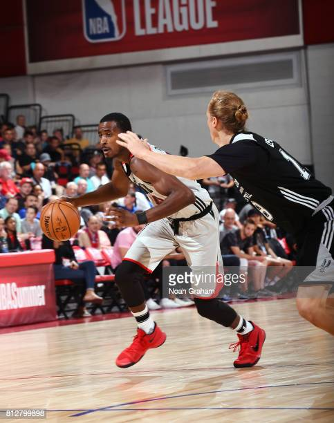 DeAndre Daniels of the Portland Trail Blazers handles the ball against the San Antonio Spurs during the 2017 Summer League on July 11 2017 at the Cox...